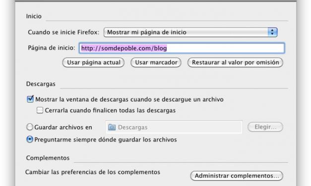 Configurant la pàgina d'inici