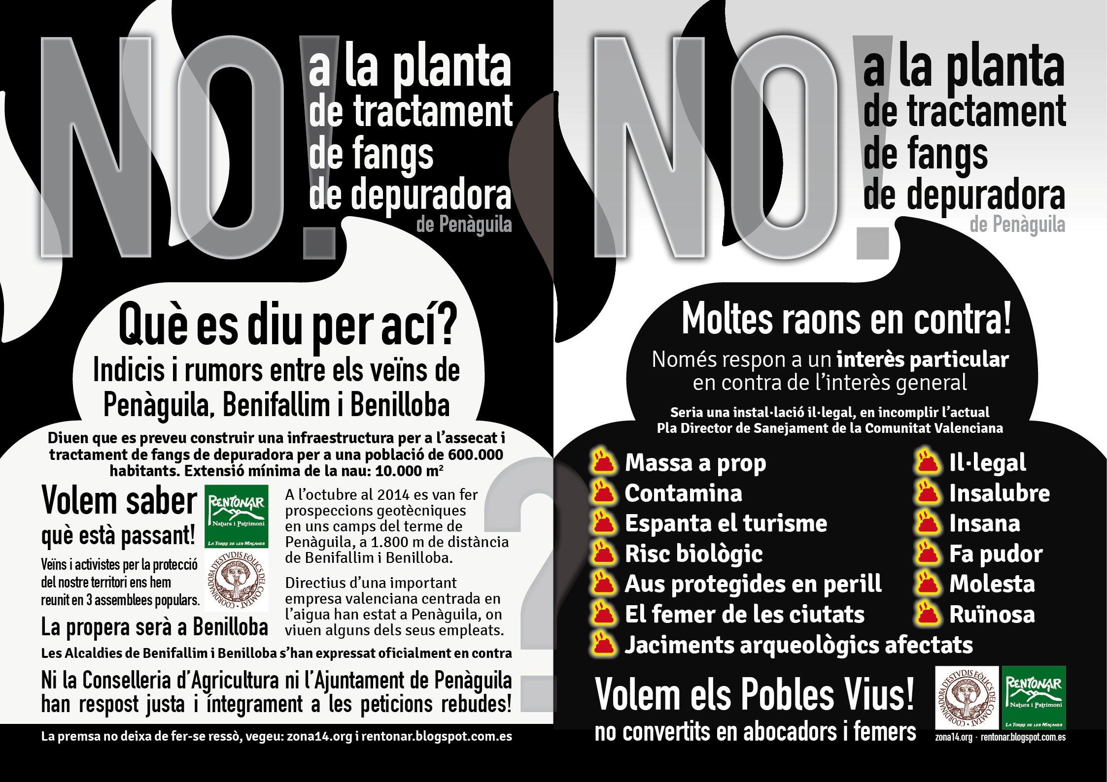NO a la Planta de tractament de fangs de depuradora de Penàguila