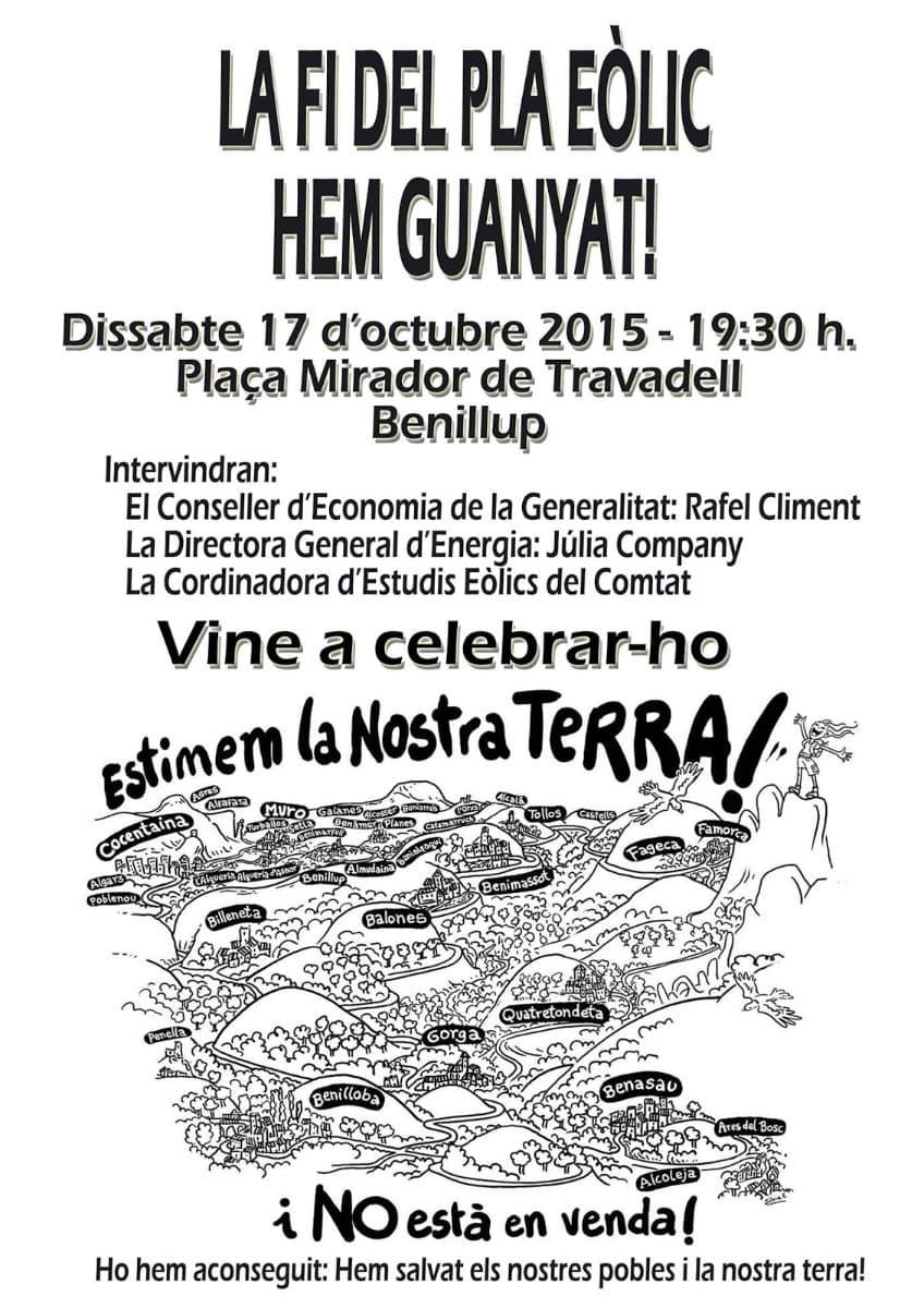 La Generalitat possa fi al Pla Eòlic del Comtat