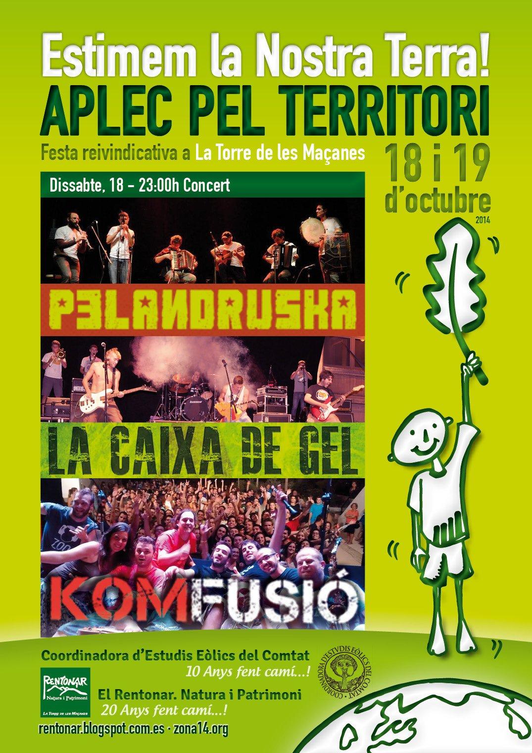 Concert a l'Aplec pel Territori, amb Pelandruska, La Caixa de Gel i Komfusió