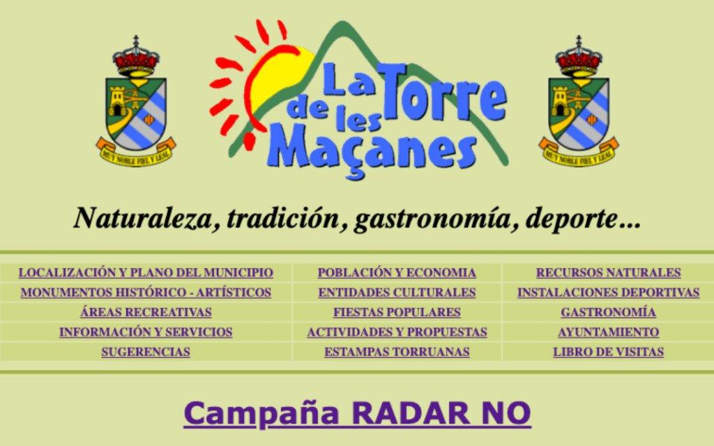 Captura de pantalla de la web de La Torre de les Maçanes en 1998