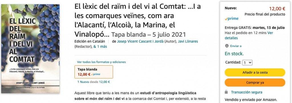El lèxic de raïm i del vi al Comtat. A Amazon